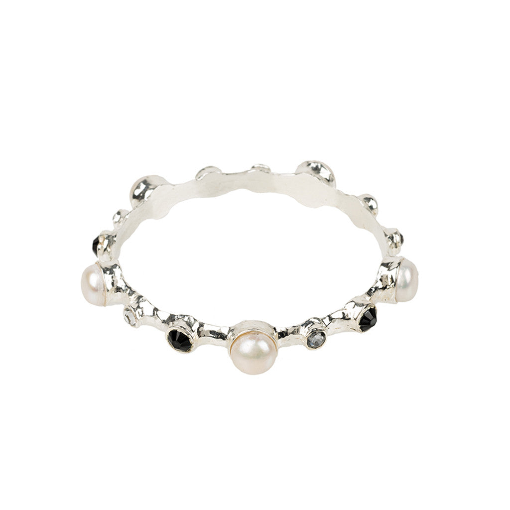 Alma Vieja bamboo bangle with pearls
