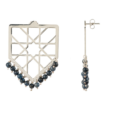 Alhambra triangle drop earrings with Lapis