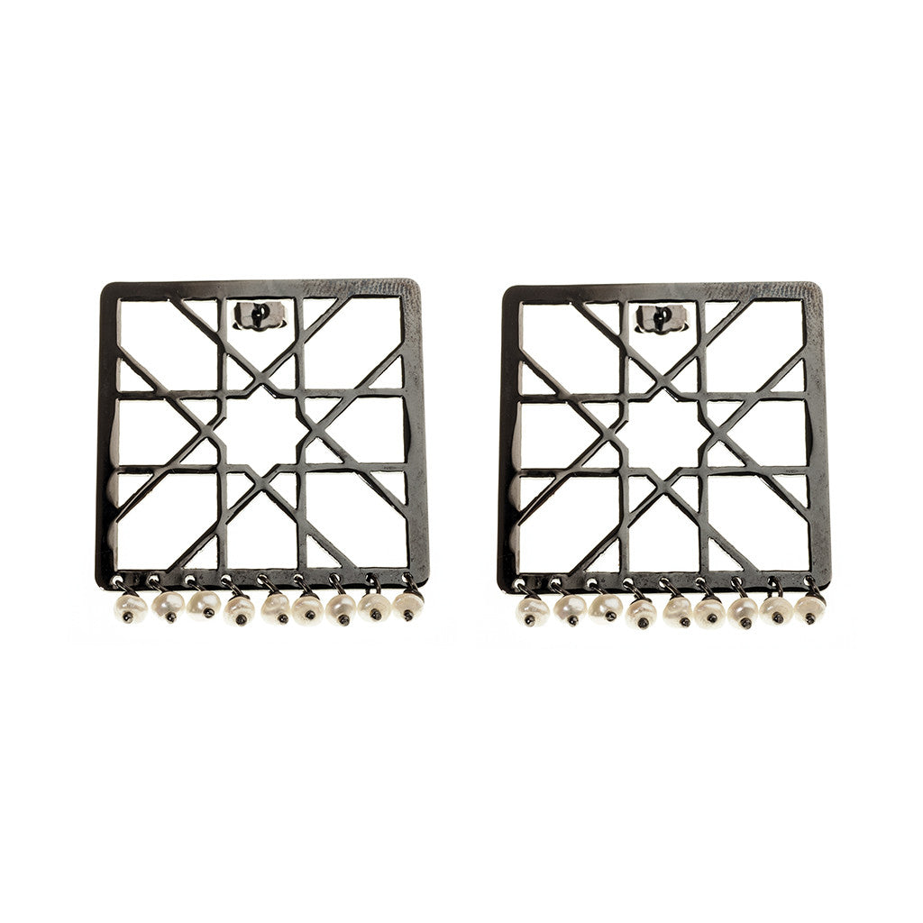 Alhambra square drop earrings with Pearls