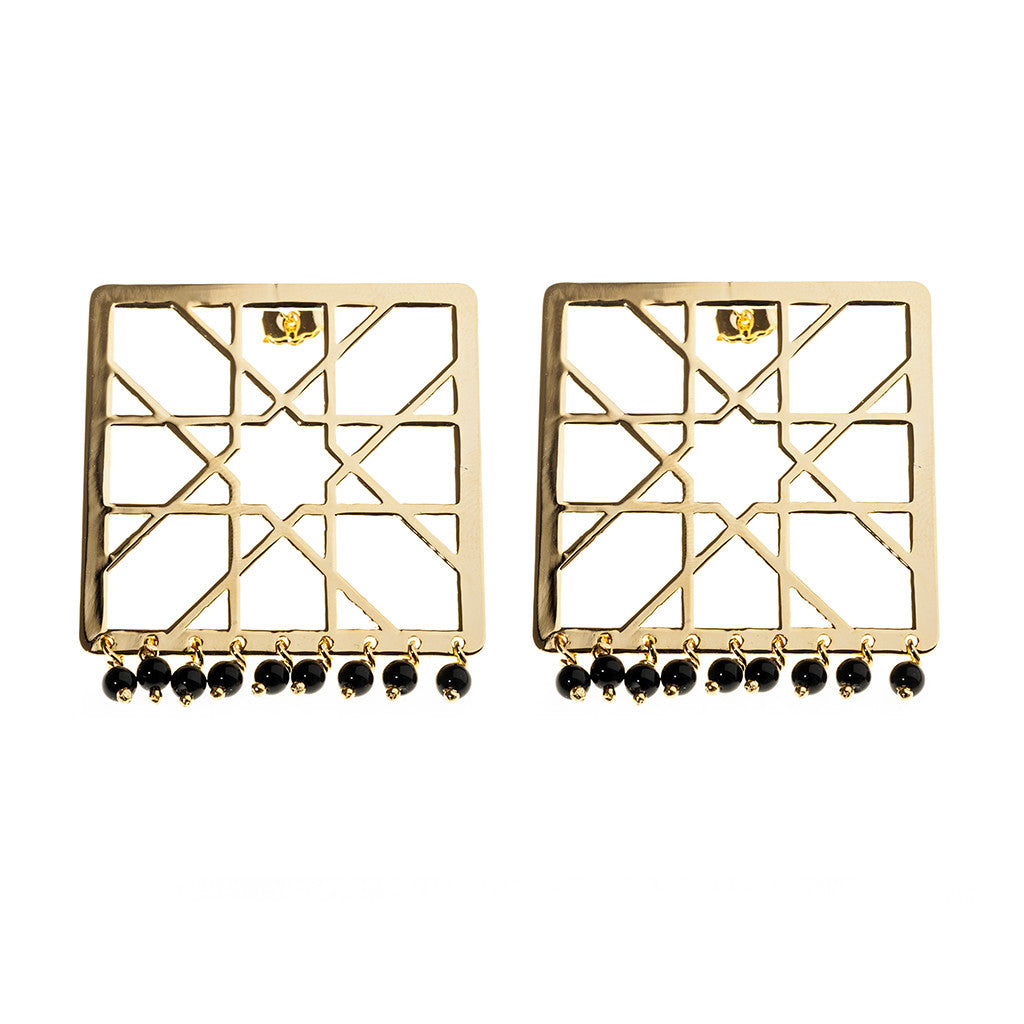 Alhambra square drop earrings with Onyx