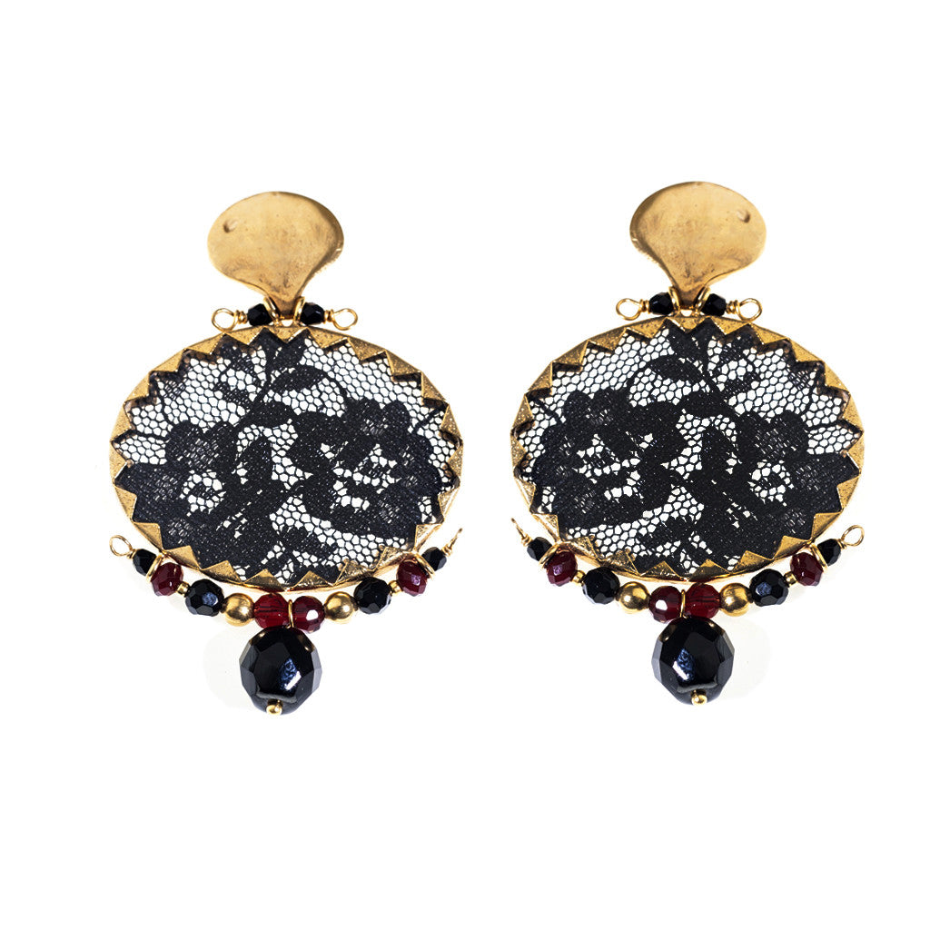 Earrings Brocart Black
