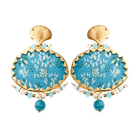 Earrings Brocart Blue