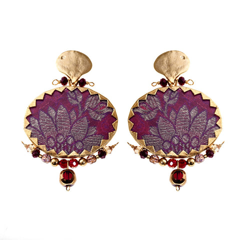 Earrings Brocart Red