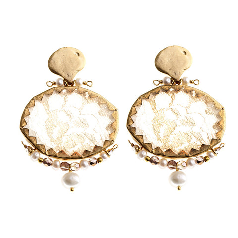 Earrings Brocart White