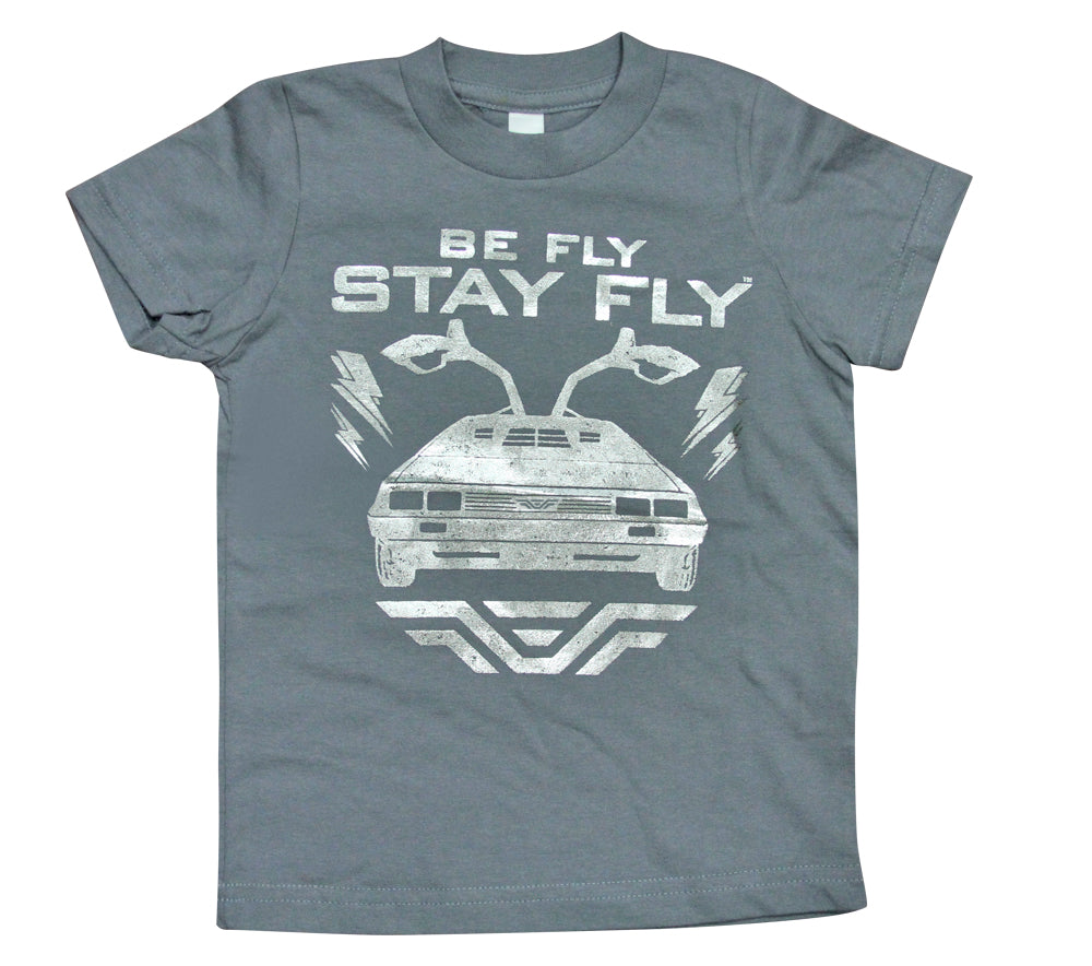 BEFLY Kids DeLorean Grey Foil Print T-shirt