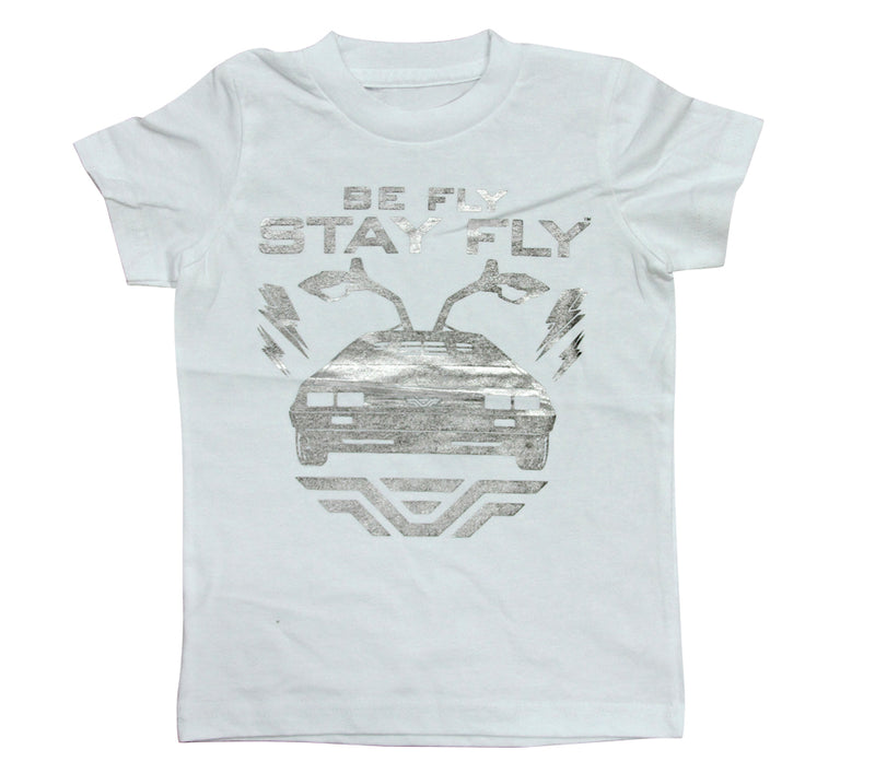 BEFLY Kids DeLorean White Foil Print T-shirt