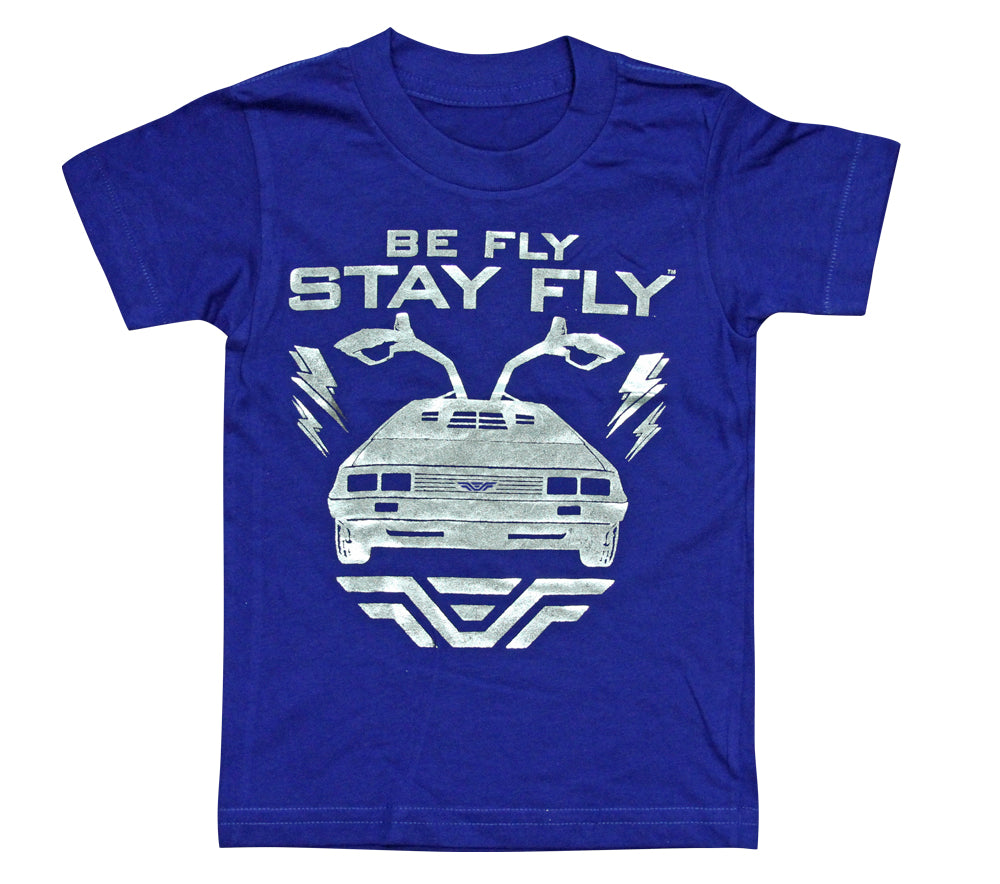 BEFLY Kids DeLorean Neon Ink Blue T-shirt