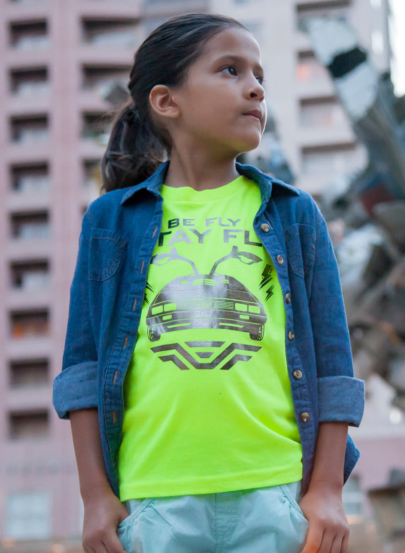 BEFLY Kids DeLorean Neon Yellow T-shirt