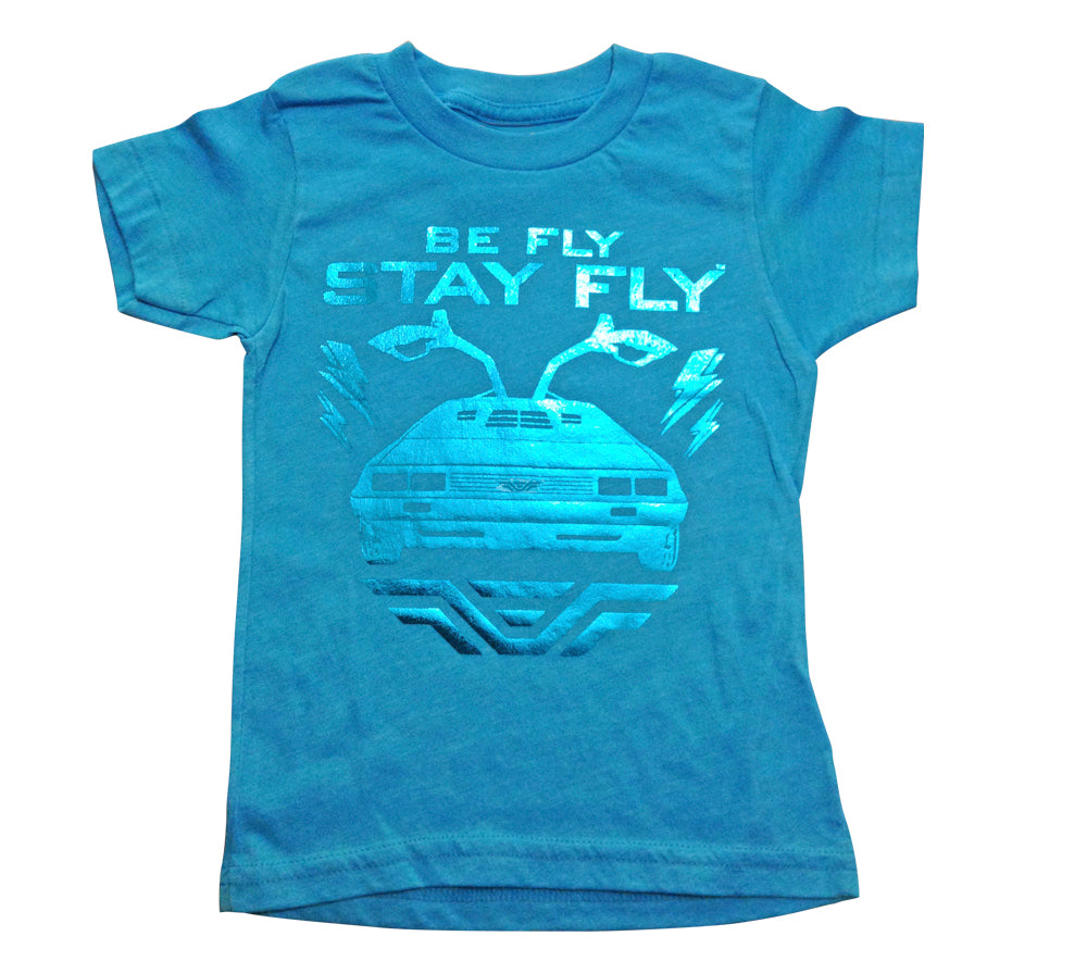 BEFLY Kids DeLorean Neon Blue T-shirt