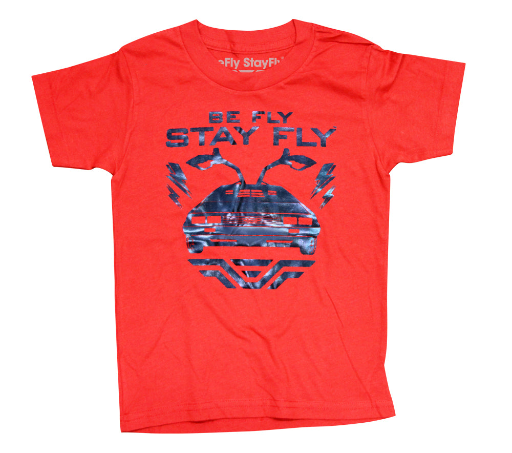 BEFLY Kids DeLorean Neon Red T-shirt