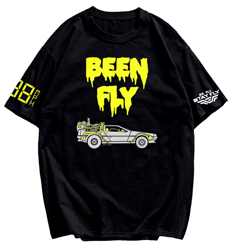 BEEN FLY DeLorean Time Machine Black T-shirt