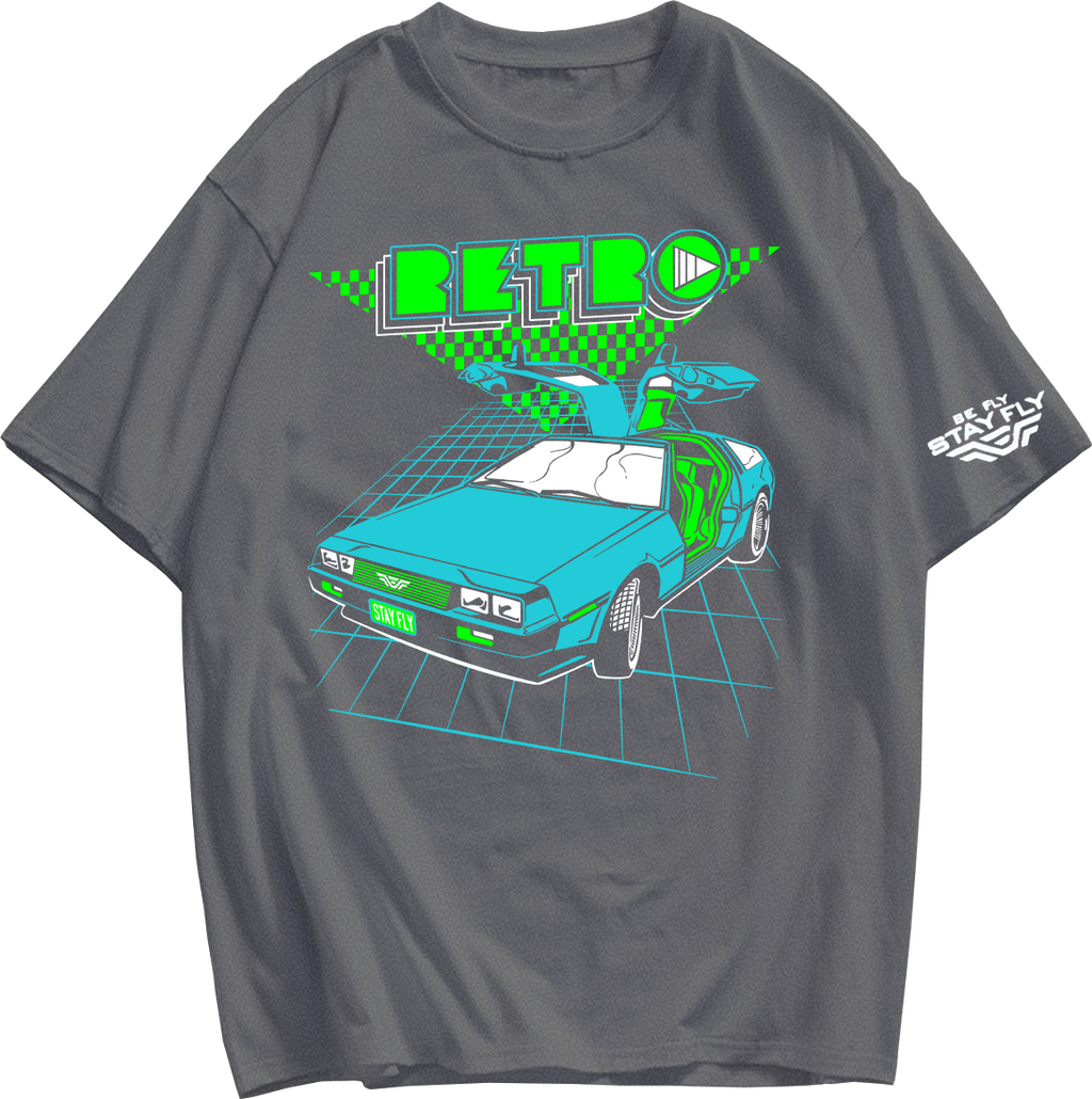 RETRO DELOREAN Heather Grey T-shirt