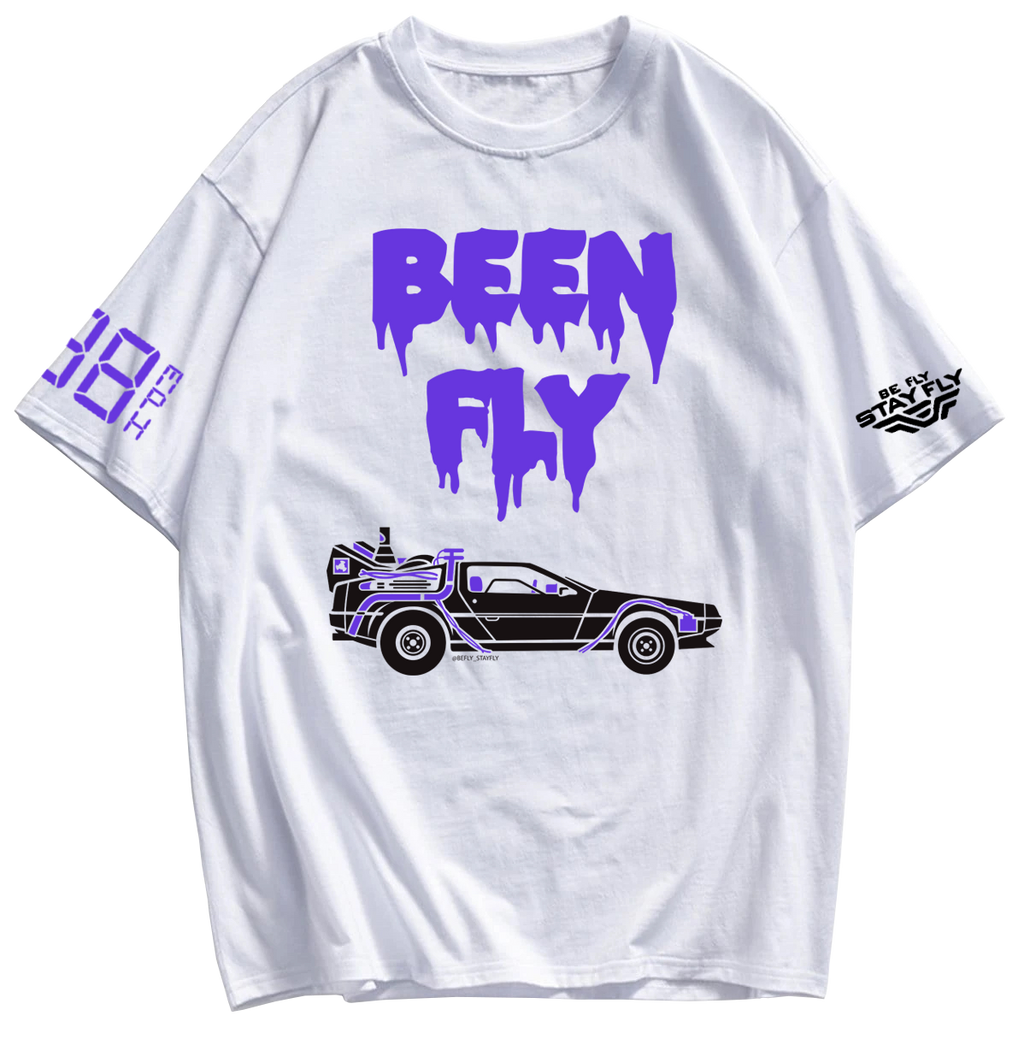 BEEN FLY DeLorean Time Machine White T-shirt