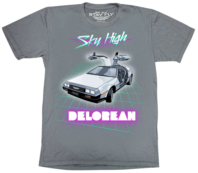 Sky High DeLorean Mens Tri-Blend T-shirt