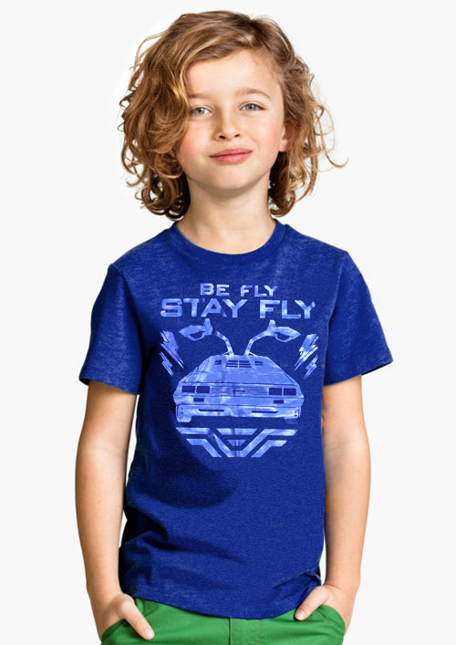 Kids BEFLY DeLorean Blue on Blue T-shirt