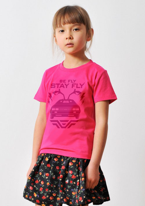 Kids BEFLY DeLorean Pink T-shirt