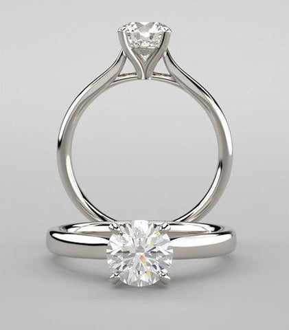 Four Prong Solitaire Engagement Ring in 14k White Gold - Bullion & Diamond, Co.