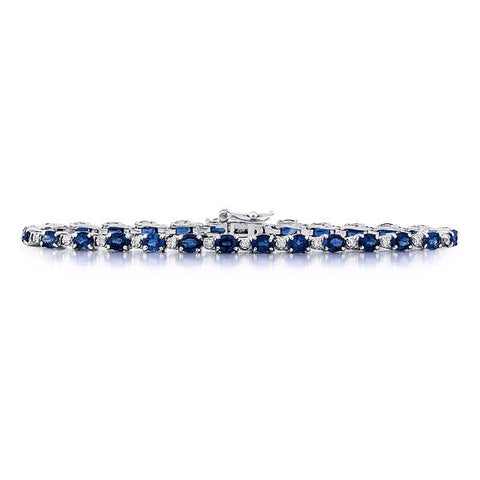 Sapphire Diamond Tennis Bracelet in 14k White Gold
