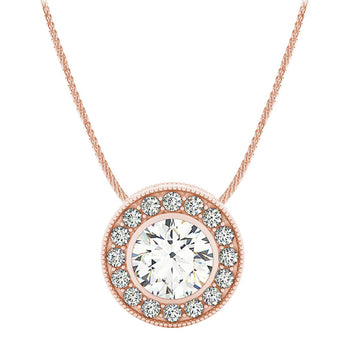 18k Rose Gold Diamond Halo Necklace