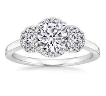 Three Stone Halo Diamond Engagement Ring in Platinum (1/2 Ct.tw)