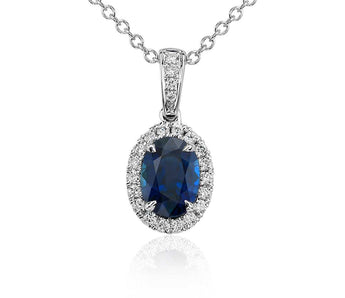Oval Sapphire and Diamond Micropavé Pendant in 14k White Gold