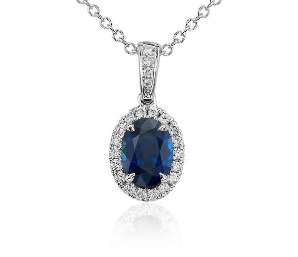 Oval Sapphire and Diamond Micropavé Pendant in 14k White Gold - Bullion & Diamond, Co.