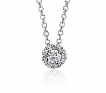 Diamond Halo Pendant in 14k White Gold (1/10 ct. tw.)