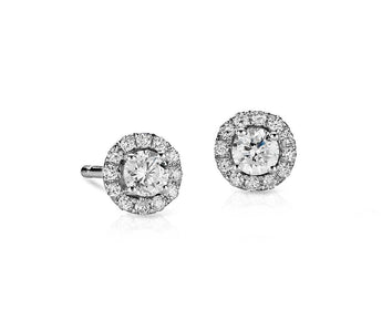 Diamond Halo Stud Earrings in 14k White Gold (0.6 ct.tw.)