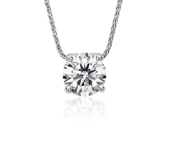 Floating Diamond Solitaire Pendant in 18k White Gold (1 ct.tw.)