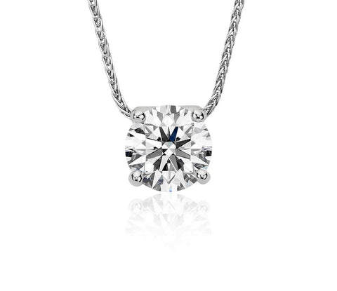 Floating Diamond Solitaire Pendant in 18k White Gold(1/2 ct.tw.) - Bullion & Diamond, Co.