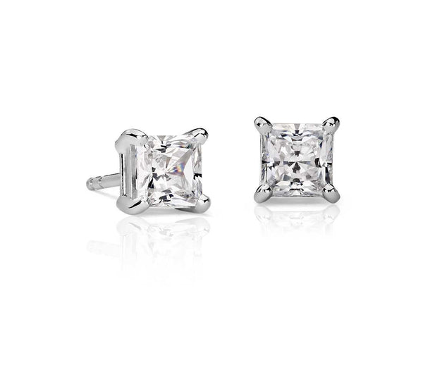 Princess-Cut Diamond Stud Earrings in 14k White Gold (1 ct. tw.) - Bullion & Diamond, Co.