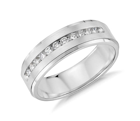Diamond Channel-Set Wedding Ring in 10k White Gold (1/3 ct. tw.) - Bullion & Diamond, Co.