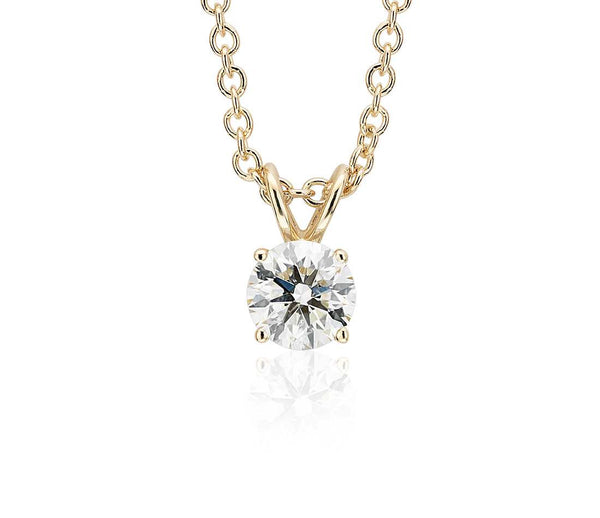 Round Diamond Solitaire Necklace in 18k Yellow Gold (1ct)