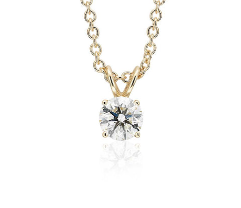 Round Diamond Solitaire Necklace in 18k Yellow Gold (1ct) - Bullion & Diamond, Co.