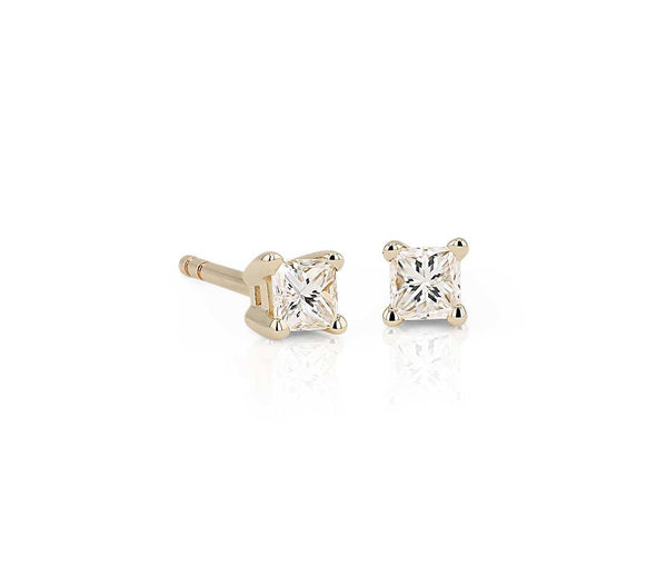 Princess-Cut Diamond Stud Earrings in 14k Yellow Gold (1/4 ct. tw.) - Bullion & Diamond, Co.