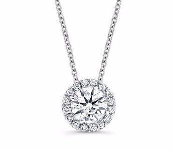 Diamond Halo Pendant in 14k White Gold (0.3 ct. tw.)