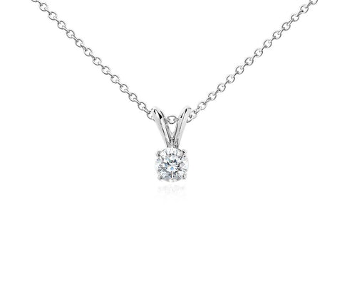 Round Diamond Solitaire Necklace in 18k White Gold (1/2 ct.tw.)