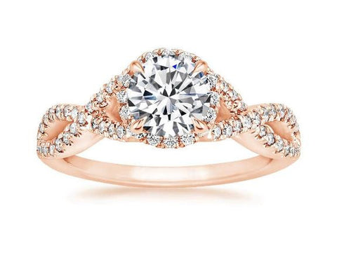 Entwined Halo Diamond Engagement Ring in 18k Rose Gold (1/3 ct. tw.)