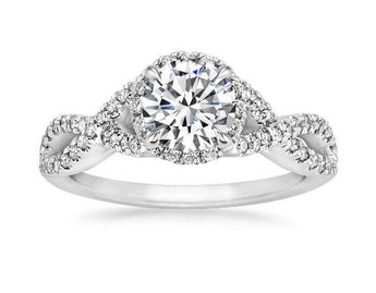 Entwined Halo Diamond Engagement Ring in Platinum (1/3 ct. tw.)