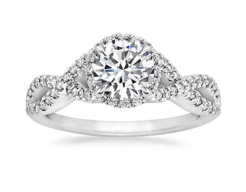 Entwined Halo Diamond Engagement Ring in Platinum (1/3 ct. tw.) - Bullion & Diamond, Co.