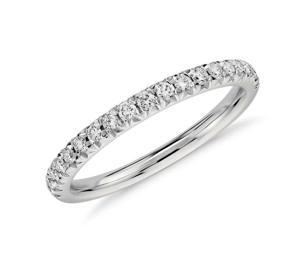 French Pavé Diamond Ring in 14k White Gold (1/4 ct. tw.) - Bullion & Diamond, Co.