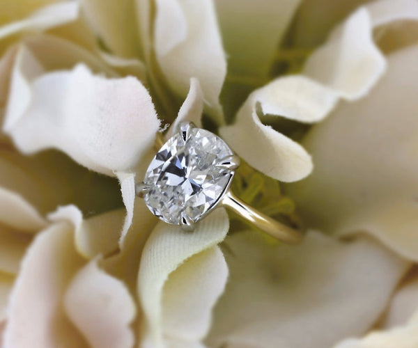 Four Prong Solitaire Cushion Cut Engagement Ring, Custom engagement Ring - Bullion & Diamond, Co.