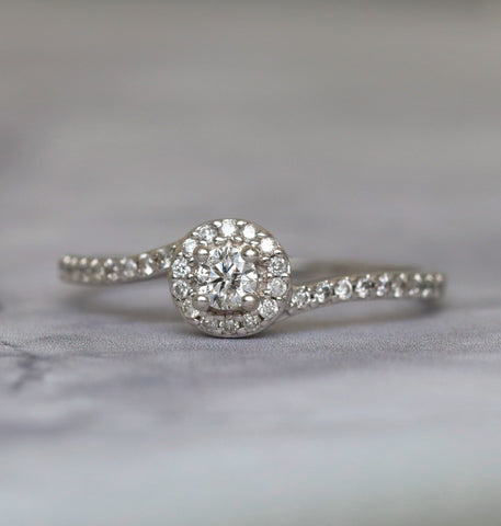 Round Halo Diamond Engagement Ring in 10k White Gold - Bullion & Diamond, Co.
