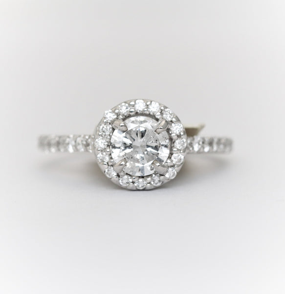 Classic Round Halo Diamond Engagement Ring in 14k White Gold - Bullion & Diamond, Co.