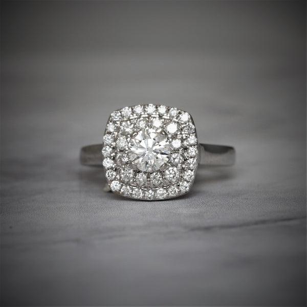 Double Halo Round Diamond Engagement Ring in 14k White Gold - Bullion & Diamond, Co.