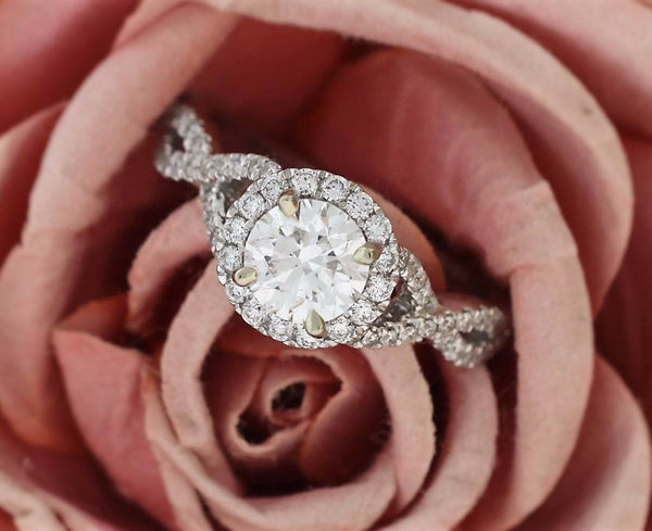 Twisted Halo Diamond Engagement Ring in 14k White Gold - Bullion & Diamond, Co.