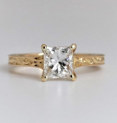 Hand-Engraved Solitaire Engagement Ring in 18k Yellow Gold - Bullion & Diamond, Co.