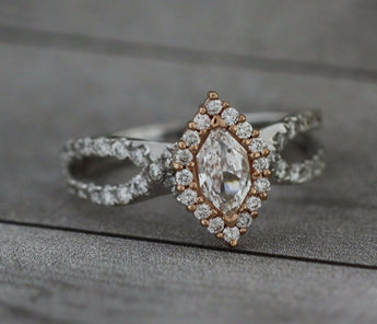 Marquise Cut Diamond Halo Engagement Rings, Twisted Pave Setting, Bullion & Diamond's Custom Designed