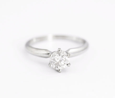 Six-Prong Solitaire Engagement Ring in 14k White Gold - Bullion & Diamond, Co.