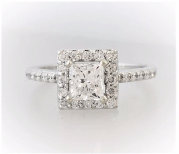 14K WHITE GOLD PRINCESS SHAPE DIAMOND HALO ENGAGEMENT RING - Bullion & Diamond, Co.